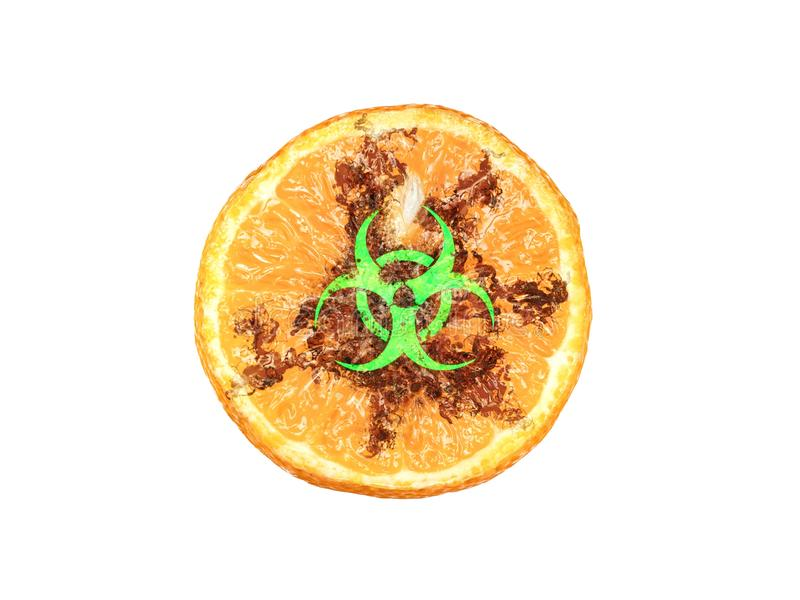 3d rendering of a half of tangerine with a glowing biological hazard sign vector illustration
