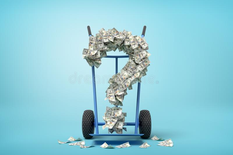 3d rendering of hand truck standing in half-turn with question mark made up of dollar banknotes on it on light-blue stock illustration