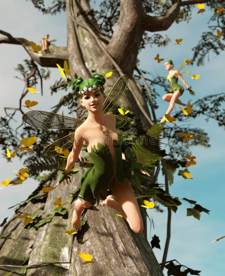 3d rendering of a happy fairies flying on a tree royalty free illustration