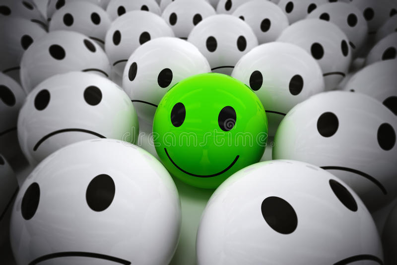 3D Rendering happy leader support his team. 3D Rendering green ball with smiley face among so many white sad balls. happy leader supports his negative team royalty free illustration