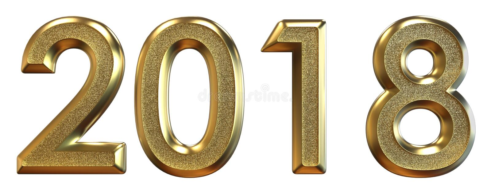 3d rendering. Happy New Year 2018. Gold numbers. vector illustration