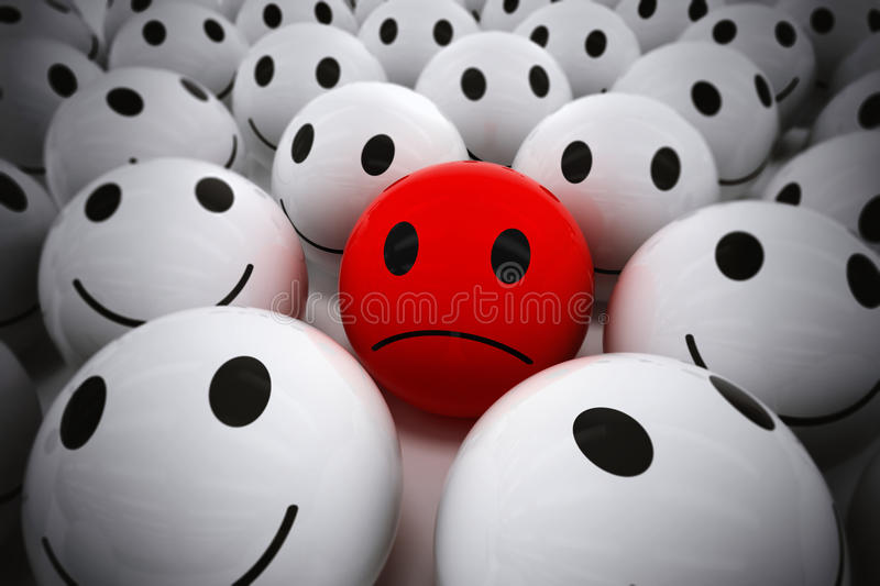 3D Rendering happy team support their leader. 3D Rendering red ball with sad face among so many white smiling balls. happy team support their sad leader royalty free illustration