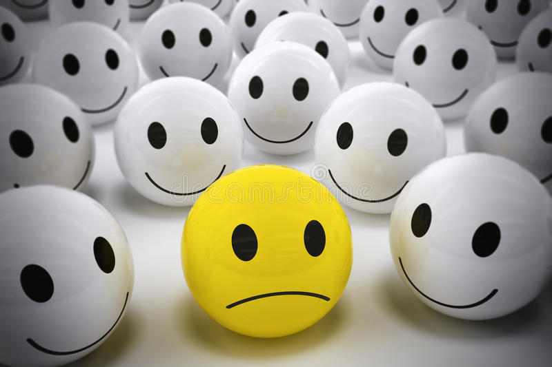3D Rendering happy team support their leader. 3D Rendering yellow ball with sad face among so many white smiling balls. happy team support their leader stock illustration