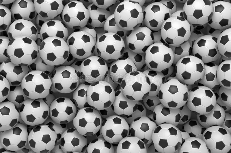 3d rendering of a heap of identical football balls lying in pig endless pile shown from the top. royalty free illustration