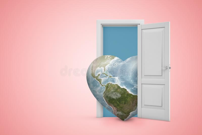 3d rendering of heart-shaped planet Earth emerging from open door on pink gradient copyspace background. Promote peace. Enhance sustainable development. Care vector illustration
