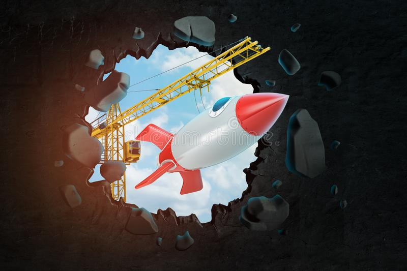 3d rendering of hoisting crane carrying space rocket and breaking wall leaving hole in it with blue sky seen through stock illustration
