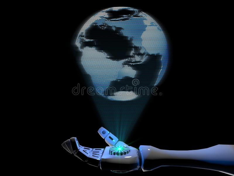 3D rendering hologram of the globe comes from the hand of a robot royalty free illustration