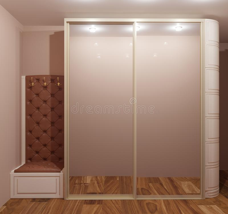 3d rendering of home hallway with big wardrobe amd mirror. Classic furniture royalty free illustration