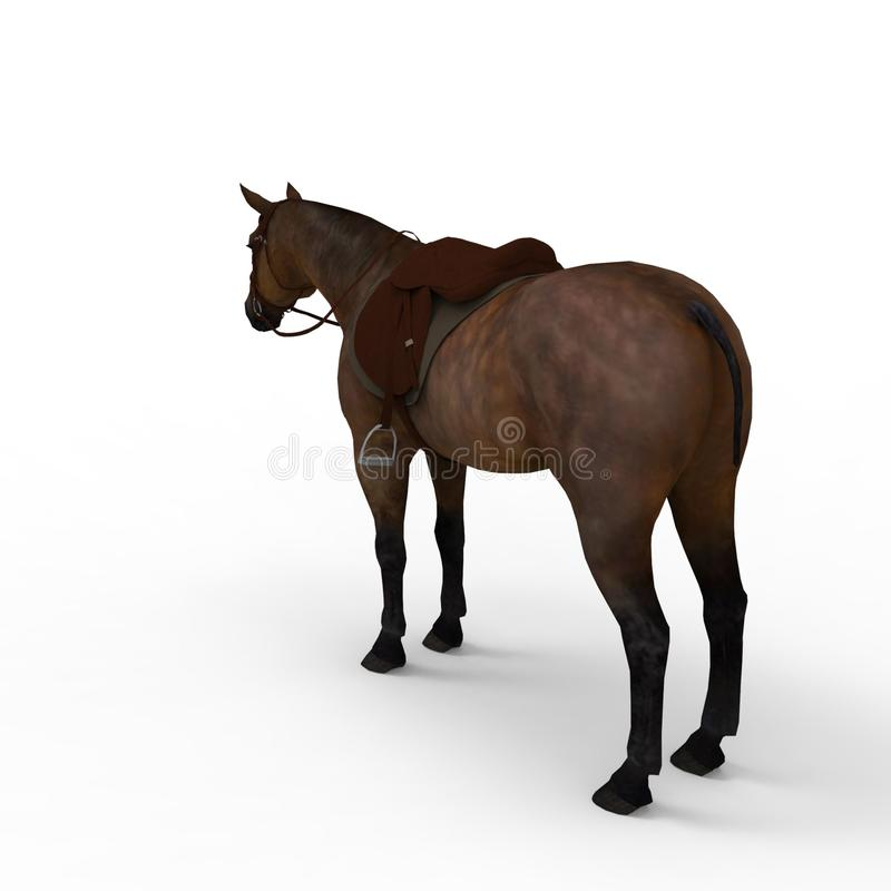 3d rendering of horse created by using a blender tool stock illustration