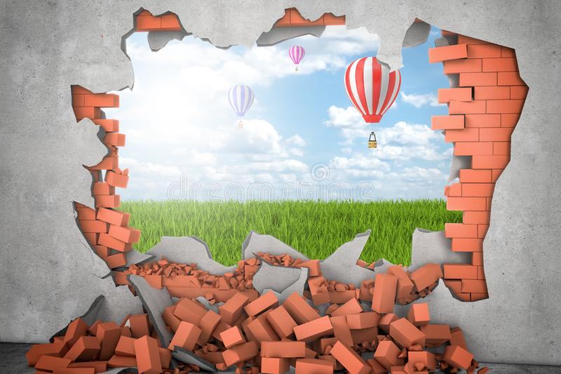 3d rendering of hot air ballon in the sky above green grass seen through a gap in red brick wall royalty free stock photo