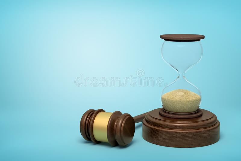 3d rendering of hourglass standing on sounding block with gavel lying beside on light-blue background with copy space. Running out of time. Time to pass royalty free stock photo