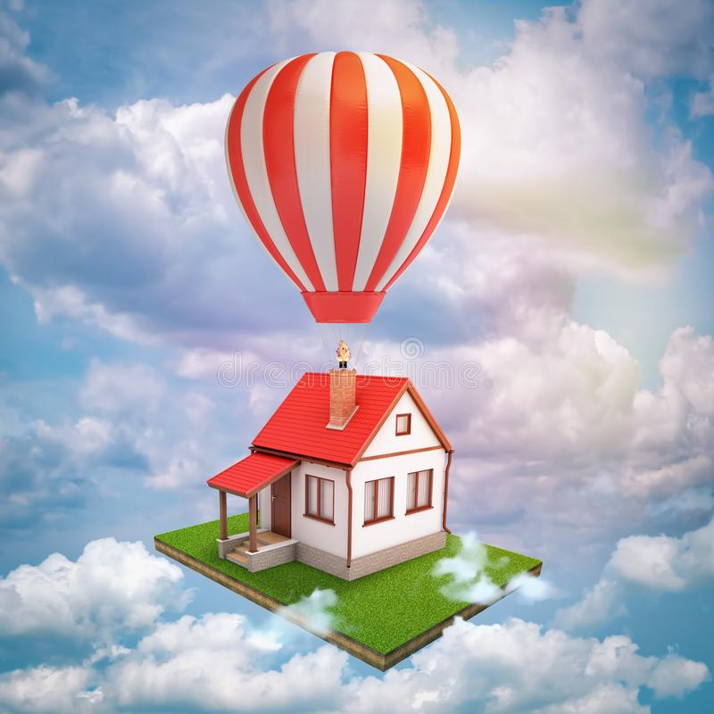 3d rendering of house with home lawn and air balloon on blue sky white clouds background. Digital art. Future and technology. Building and construction stock illustration