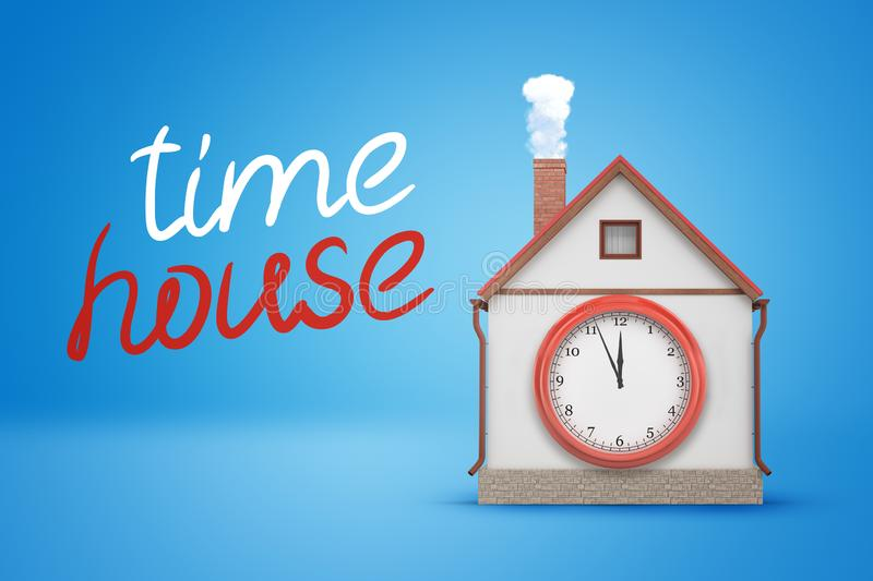 3d rendering of house with smoking chimney and big clock-face on wall and title `time house` on blue background. stock photo