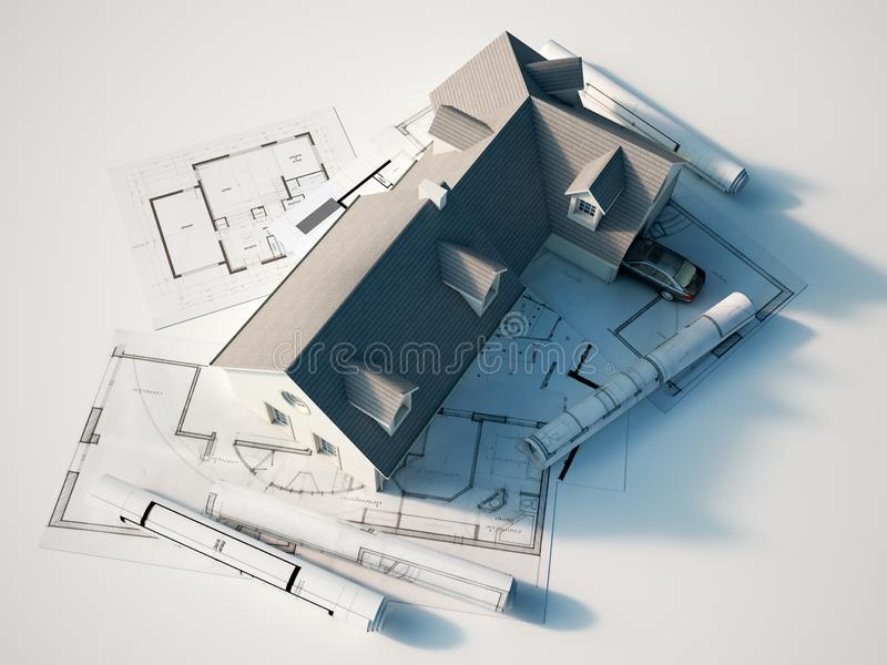 house on top of blueprints vector illustration