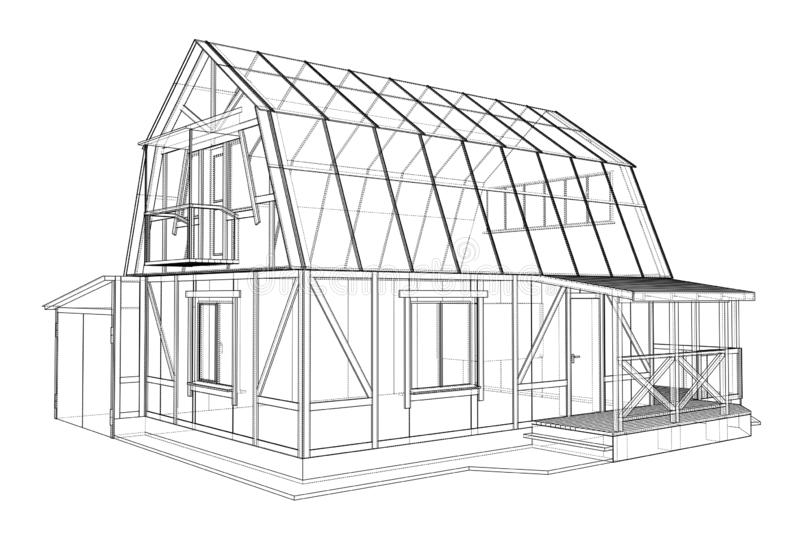 3D rendering of house wireframe structure royalty free illustration