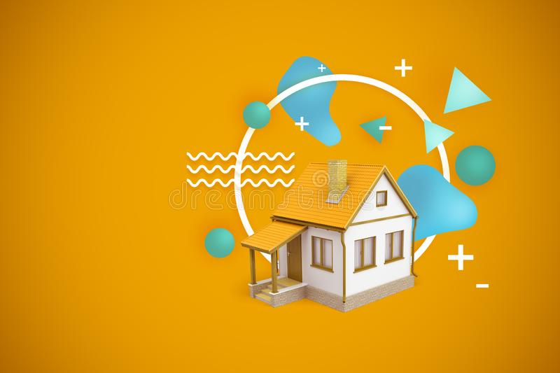 3d rendering of a house with a yellow roof on a yellow background with white and blue geometric shapes. royalty free illustration