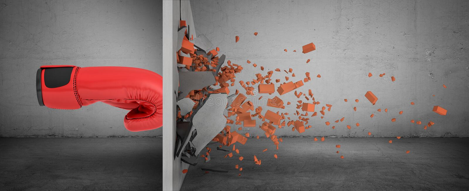 3d rendering of a huge red boxing glove in side view touches a brick wall and smashes it with rubble falling out. Force and strength. Breaking obstacles. Crash vector illustration