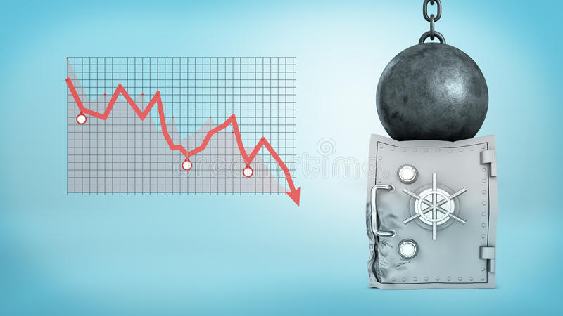 3d rendering of a huge wrecking ball sitting on a deformed silver safe box beside a negative financial chart. Loss of savings. Falling market. Financial royalty free illustration