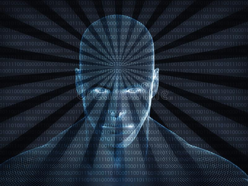 3d Human Profile From A Binary Code Stock Illustration