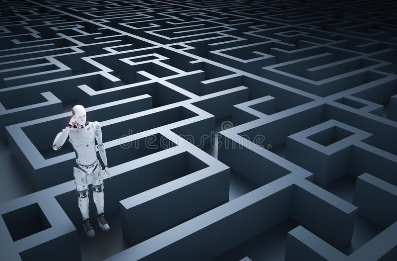 Robot in maze. 3d rendering humanoid robot analysisi in maze vector illustration