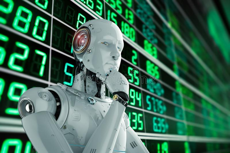 Robot analyze stock. 3d rendering humanoid robot analyze stock market royalty free illustration