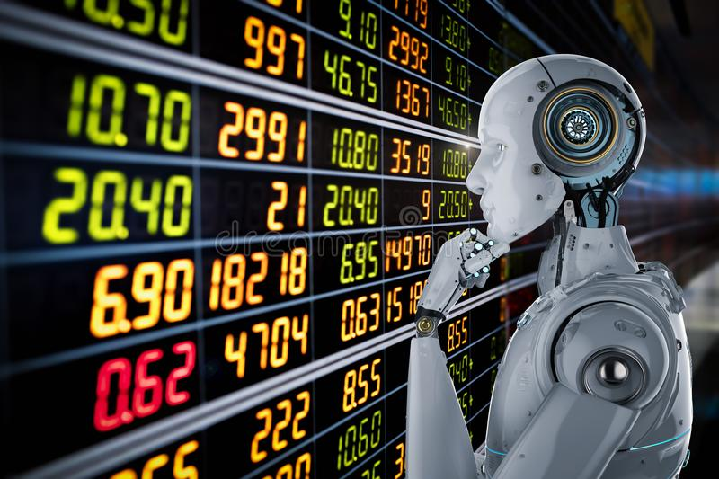 Robot analyze stock. 3d rendering humanoid robot analyze stock market vector illustration