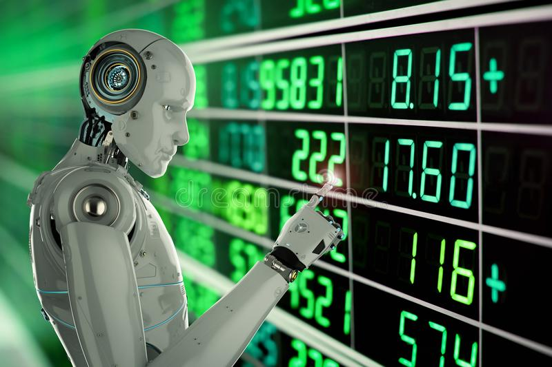 Robot analyze stock. 3d rendering humanoid robot analyze stock market stock illustration