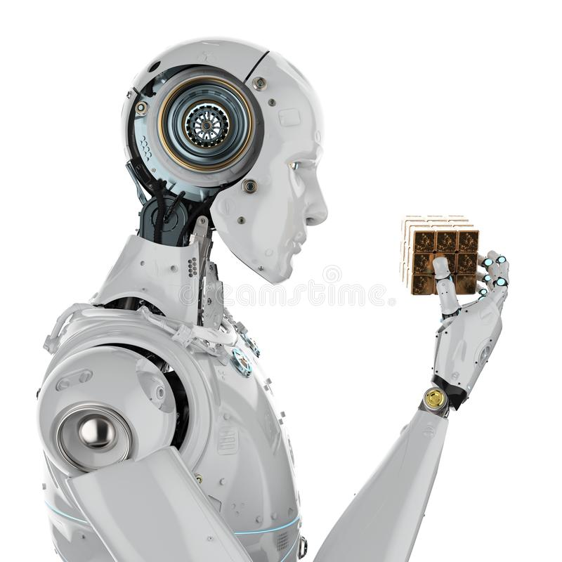 Robot playing cube stock images