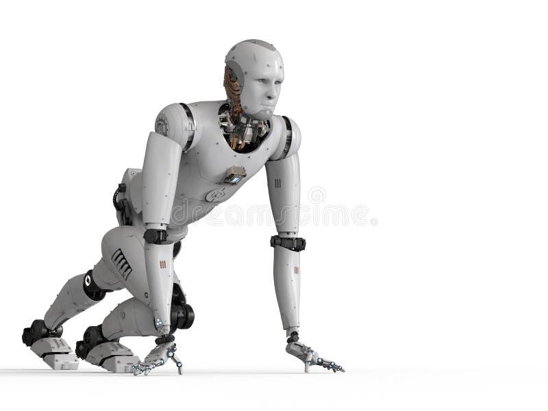 Humanoid robot running. 3d rendering humanoid robot running on white background stock image