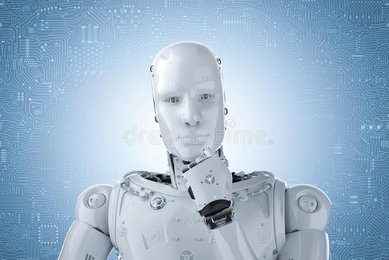 Humanoid robot thinking. 3d rendering humanoid robot thinking on blue circuit background stock photo