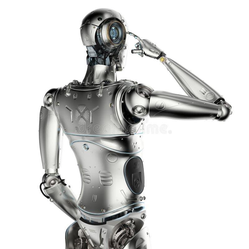 Robot thinking or computing royalty free illustration