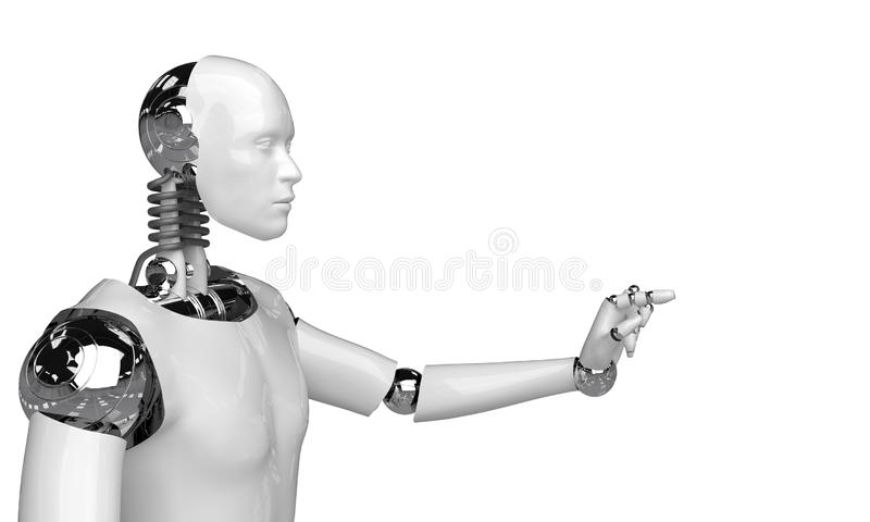 3d rendering humanoid robot thinking and Select something robot point object on white background vector illustration