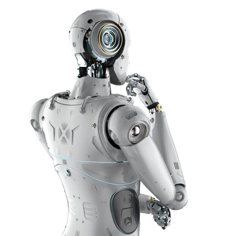 Humanoid robot thinking royalty free illustration