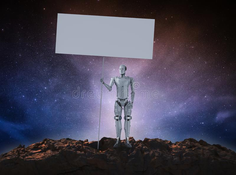 Robot with blank banner stock illustration