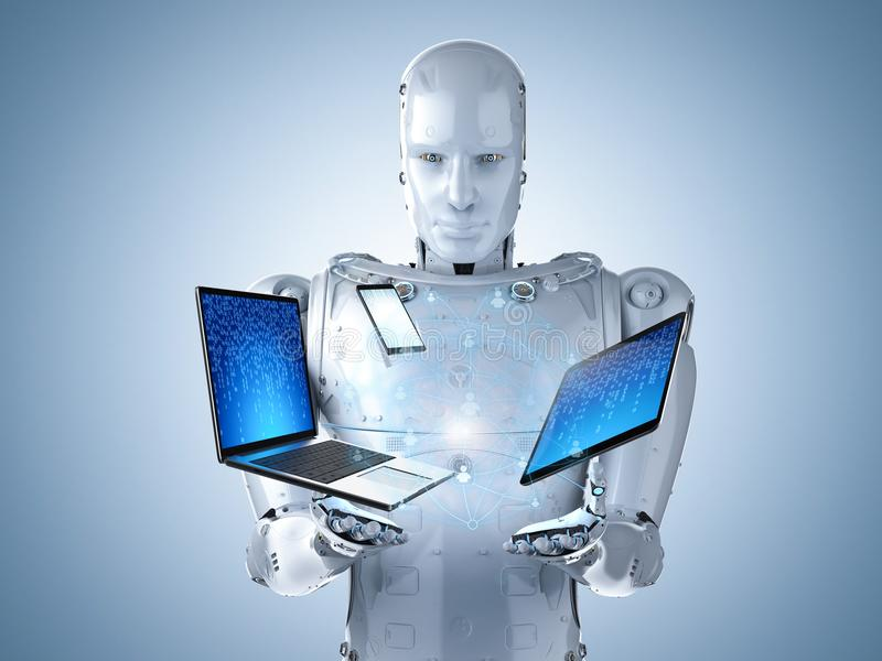 Robot with gadget stock photo