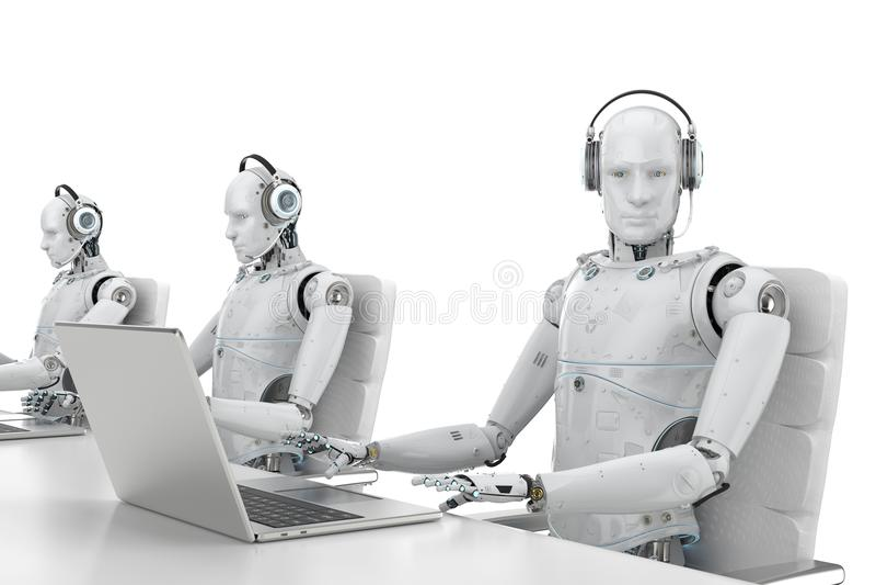 Robot call center royalty free illustration
