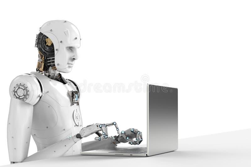 Robot work on laptop stock photography