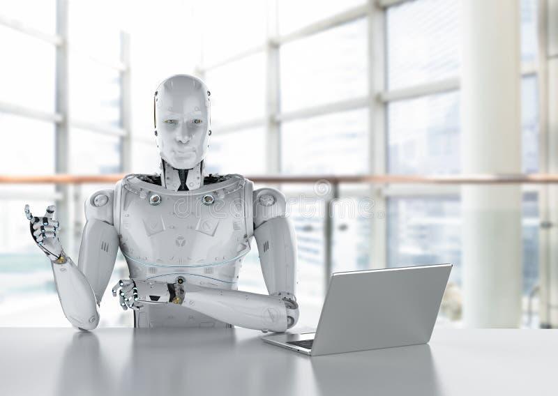 Robot work on laptop royalty free illustration