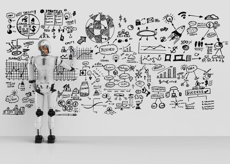 Robot writing plan royalty free illustration