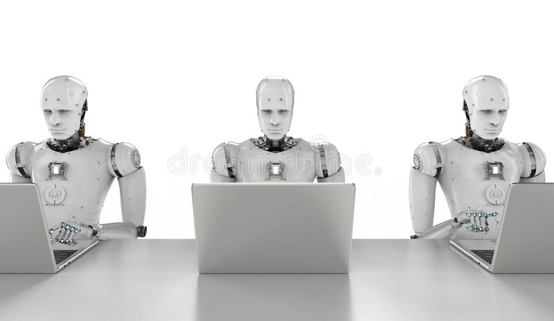 Robots work on laptop. 3d rendering humanoid robots working on laptop computer royalty free illustration