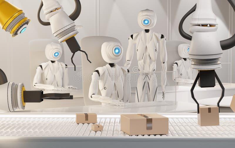 3d rendering humanoid robots working and parcels on conveyor belt 3d-illustration vector illustration
