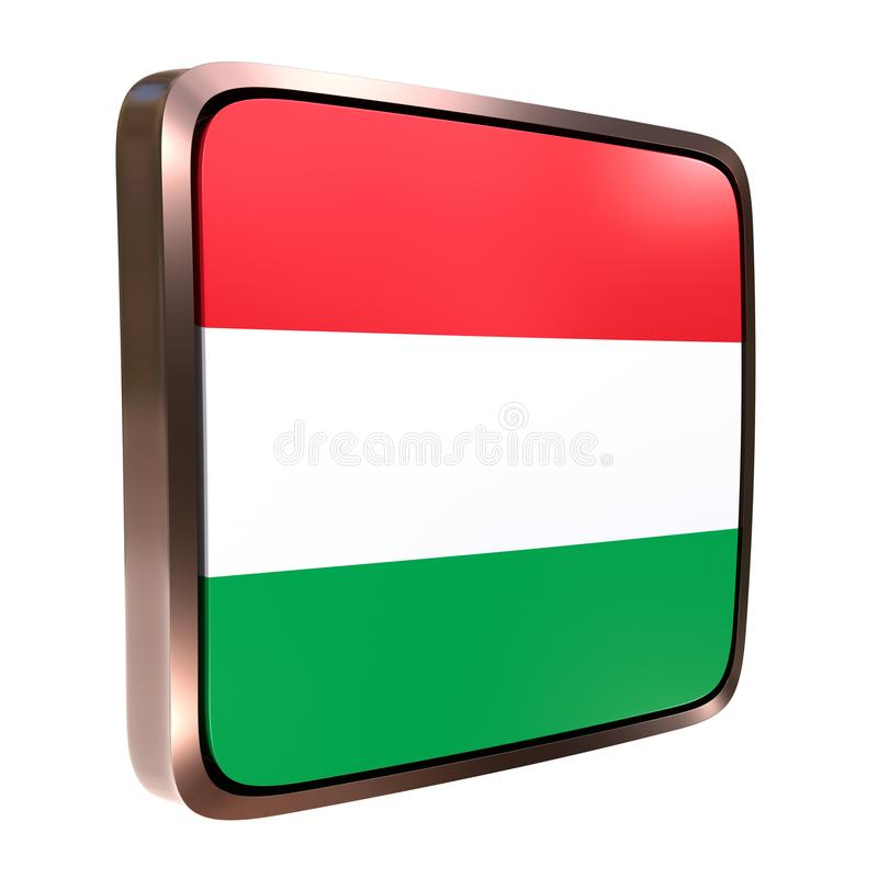 Hungary flag icon. 3d rendering of a Hungary flag icon with a metallic frame. Isolated on white background stock illustration