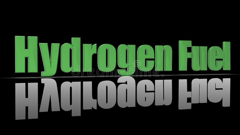 3d rendering of Hydrogen Fuel words as 3D sign stock image