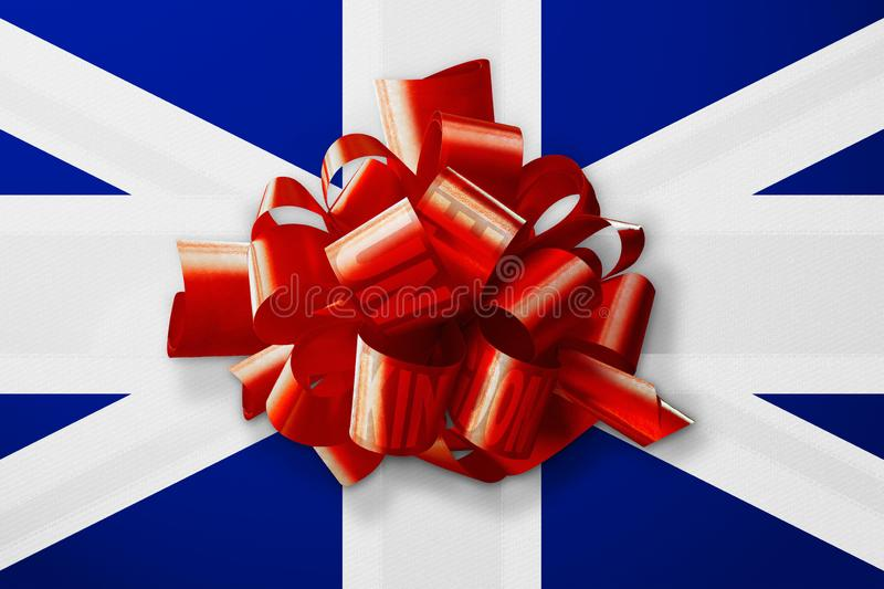 3D Rendering idea of the United Kingdom flag with the red lines tangled up. 3D Illustration idea of the United Kingdom flag with the red lines tangled up stock illustration
