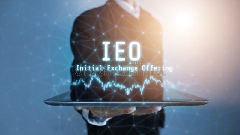 3D rendering IEO teksta inicjału wymiana Oferuje rozjarzonego hologram unosi się nad pastylką w biznesowego mężczyzny świec zdjęcia stock
