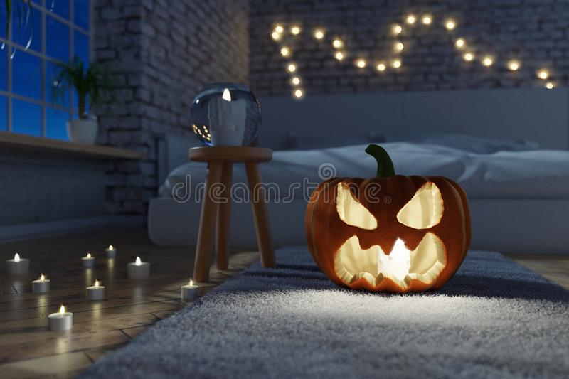 3d rendering of illuminated jack o` lantern standing on rug sofa royalty free illustration