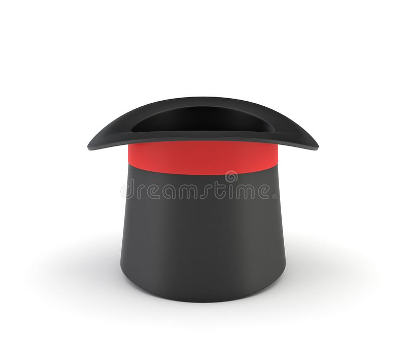 3d rendering of a illusionist`s black hat standing overturned on a white background. stock illustration