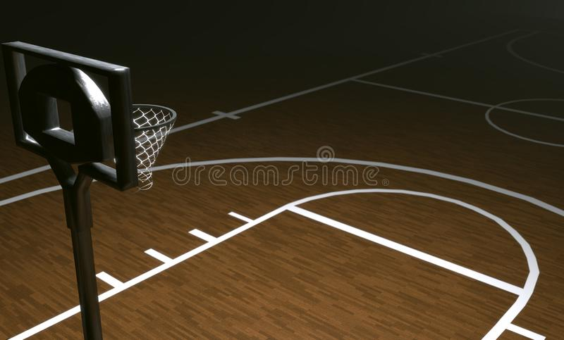 3d rendering of a illustration of a basketball court with no people stock illustration
