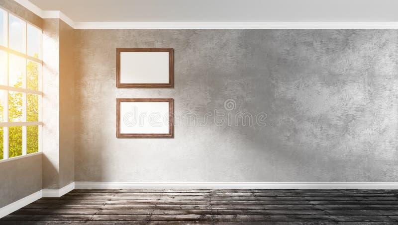 Big modern empty room corner with wooden frames. 3d rendering illustration of big modern empty room corner with gray plaster wall, rough wooden floor, window to royalty free illustration
