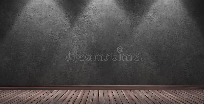 Big modern room with black plaster wall. 3d rendering illustration of big modern room with black plaster wall, wooden parquet floor and plinth. Interior with royalty free stock photo